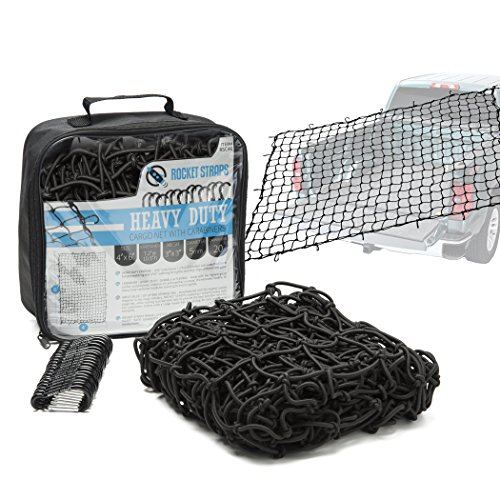 Rocket Straps | Cargo Net 4X6 Bungee Net | Truck Bed Net Includes (12) Steel Carabiners & Bag | Heavy Duty 5mm 3X3 Mesh | No Gaps Securing Cargo Nets to Pickup Trucks, SUV, Beds, Trailers