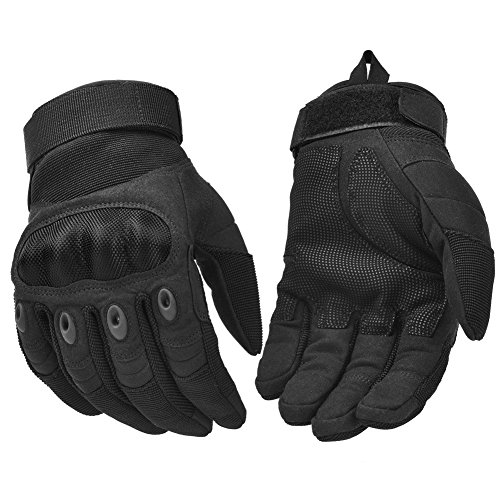 (Military Rubber Knuckle Tactical Gloves, Motorcycle Motorbike Riding Full Finger Driving Gloves Black Medium )