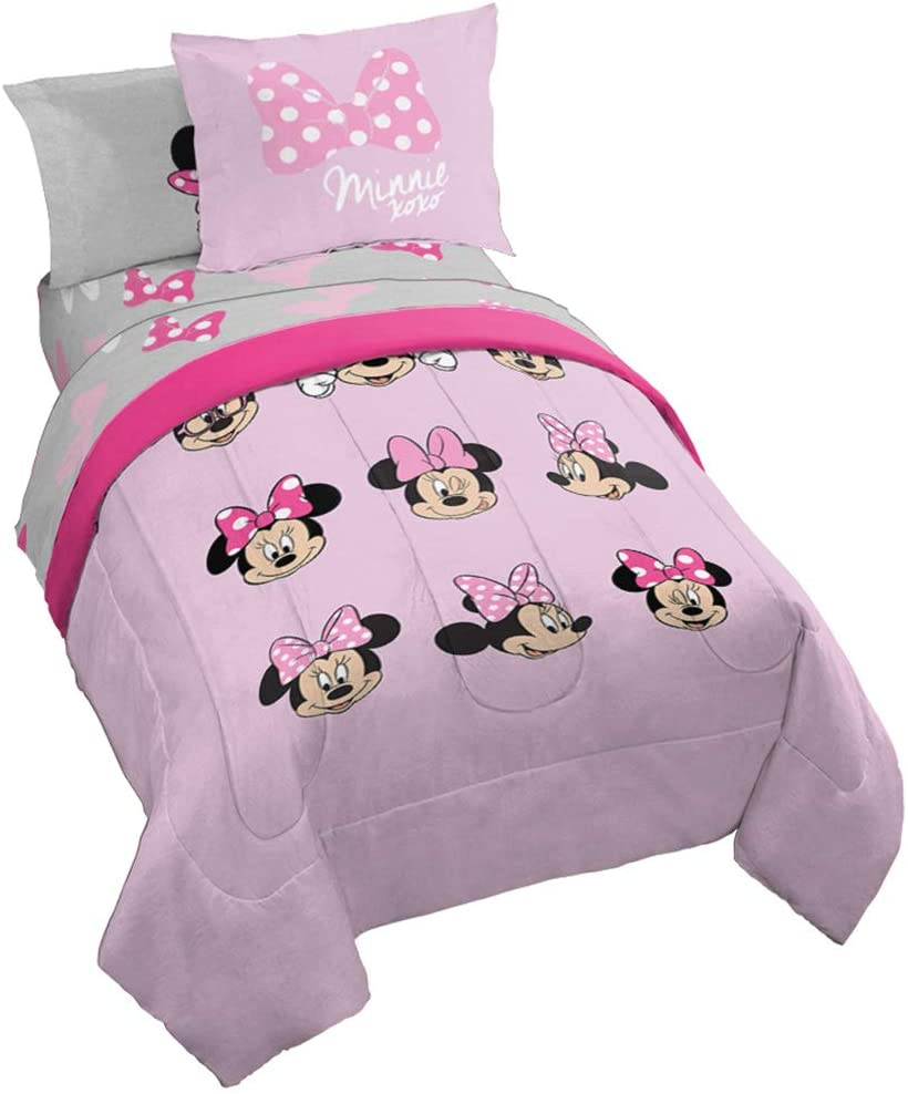 Jay Franco Dinsey Minnie Mouse Faces 7 Piece Full Bed Set - Includes Reversible Comforter & Sheet Set Bedding - Super Soft Fade Resistant Microfiber - (Official Dinsey Product)