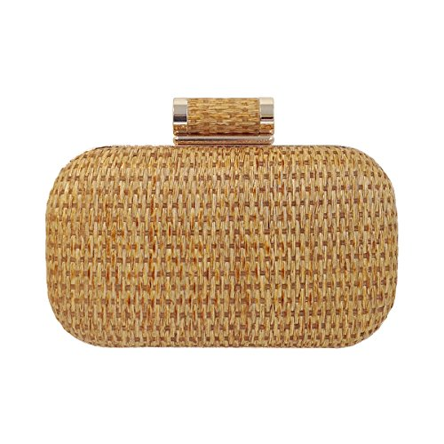 Raffia Straw Box Clutch, Natural by JNB