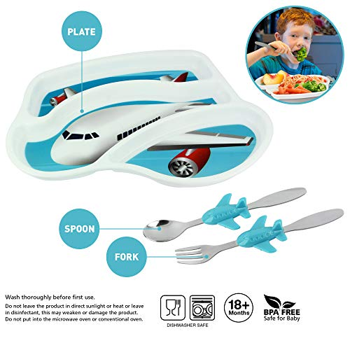 KidsFunwares Airplane Me Time Meal Set, Portion Control Divided Plate with Fork and Spoon for Kids