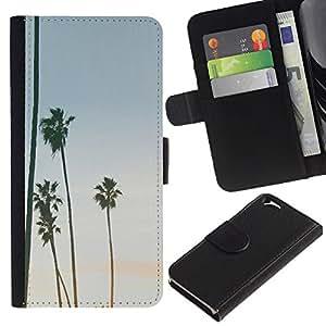 A-type (Trees Sky Summer Beach Tropics) Colorida Impresión Funda Cuero Monedero Caja Bolsa Cubierta Caja Piel Card Slots Para Apple (4.7 inches!!!) iPhone 6 / 6S