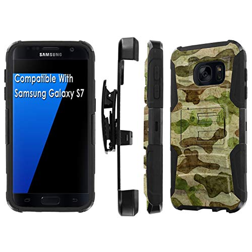 (Samsung Galaxy S7 / GS7 Deluxe Phone Case by [TalkingCase], Black/Black Premium Dual Layer Armor Case, w/Holster & Kickstand Phone Case for Samsung Galaxy S7 [Military Camouflage] Design in)