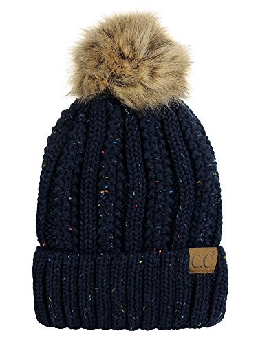 C.C Thick Cable Knit Faux Fuzzy Fur Pom Fleece Lined Skull Cap Cuff Beanie, Confetti Navy
