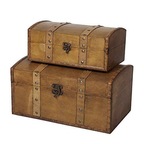 SLPR Decorative Keepsakes Wooden Trunk Chest (Set of 2, Walnut) | Old Rustic Wooden Keepsake Memory Trinket Nesting Boxes