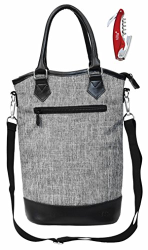 Vina 2 Bottle Wine Tote Bag - Travel Insulated Padded Wine/Champagne Carrier Cooler Case with Handle and Shoulder Strap + Free Corkscrew, Great Wine Lover Gift, Gray