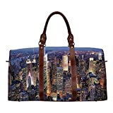 New York Exquisite Travel Bag,Aerial View of NYC Full of Skyscrapers Manhattan Times Square Famous Cityscape Panorama for College,18.62'L x 8.5'W x 9.65'H