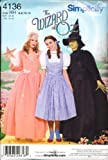 Simplicity 4136 sewing pattern Wizard of Oz Dorothy, Glenda, and Wicked makes sizes 14 to 22