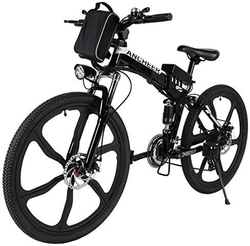 2019 Electric Mountain Bike with 6 AH 8AH Lithium-Ion Battery, Premium Full Suspension and 21 Speed Gear