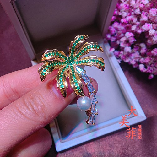 - TKHNE Exquisite little coconut tree natural freshwater pearl brooch pin badge brooch pin badge lovely fresh and simple Smart Famous