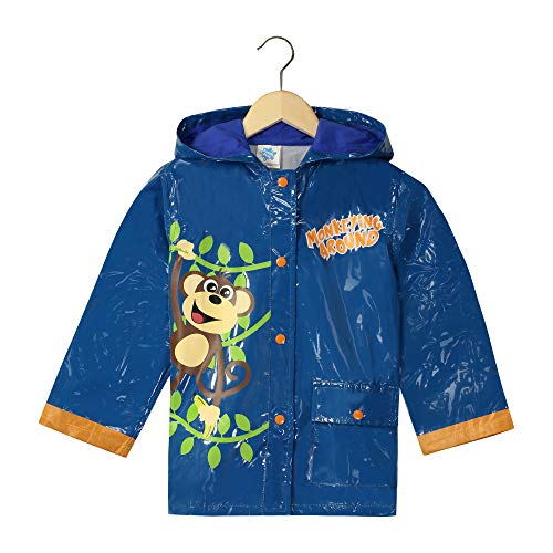 AccessoWear Little Boy's Monkeyin Around Raincoat - Size (4 Toddler) Blue ()