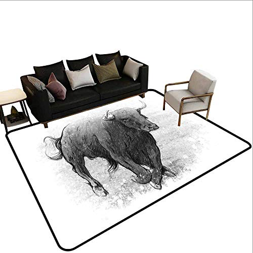 Thickened Large Size Carpet Taurus,Sketch Tattoo Style Classic Hand Drawn Bull Figure Animal with Horns Artful Picture,Grey Dust