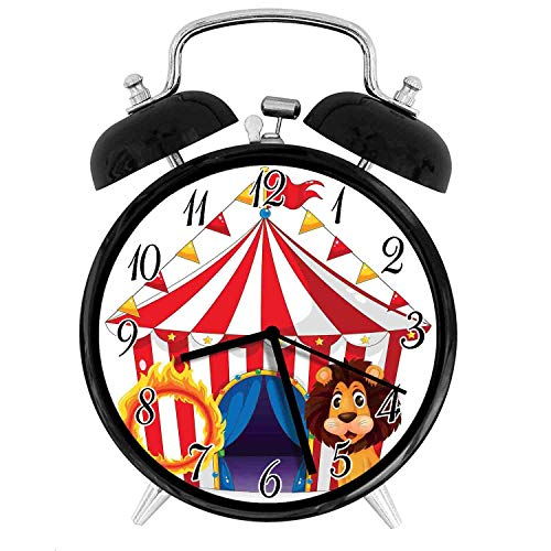 22yiihannz Circus Decor 3.8-inch Silent Night Light Alarm Clock,Lion and a Fire Ring in Front of The Circus Tent Lightbulbs Flame Adventure,The Best Gift Choice for a Friend or Family - Lions Glass Night Light