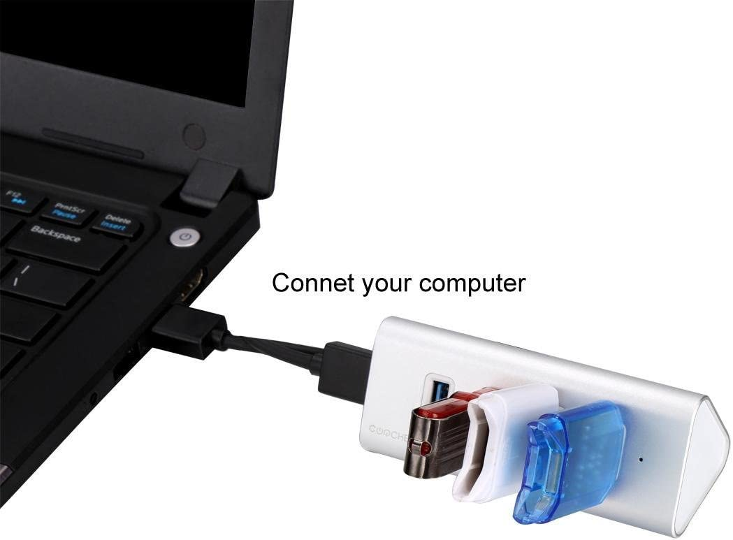 5 Port Portable USB 3.0 Hub with Built-in Cable Aluminum and Compact USB Hub Charging Station For Smartphones