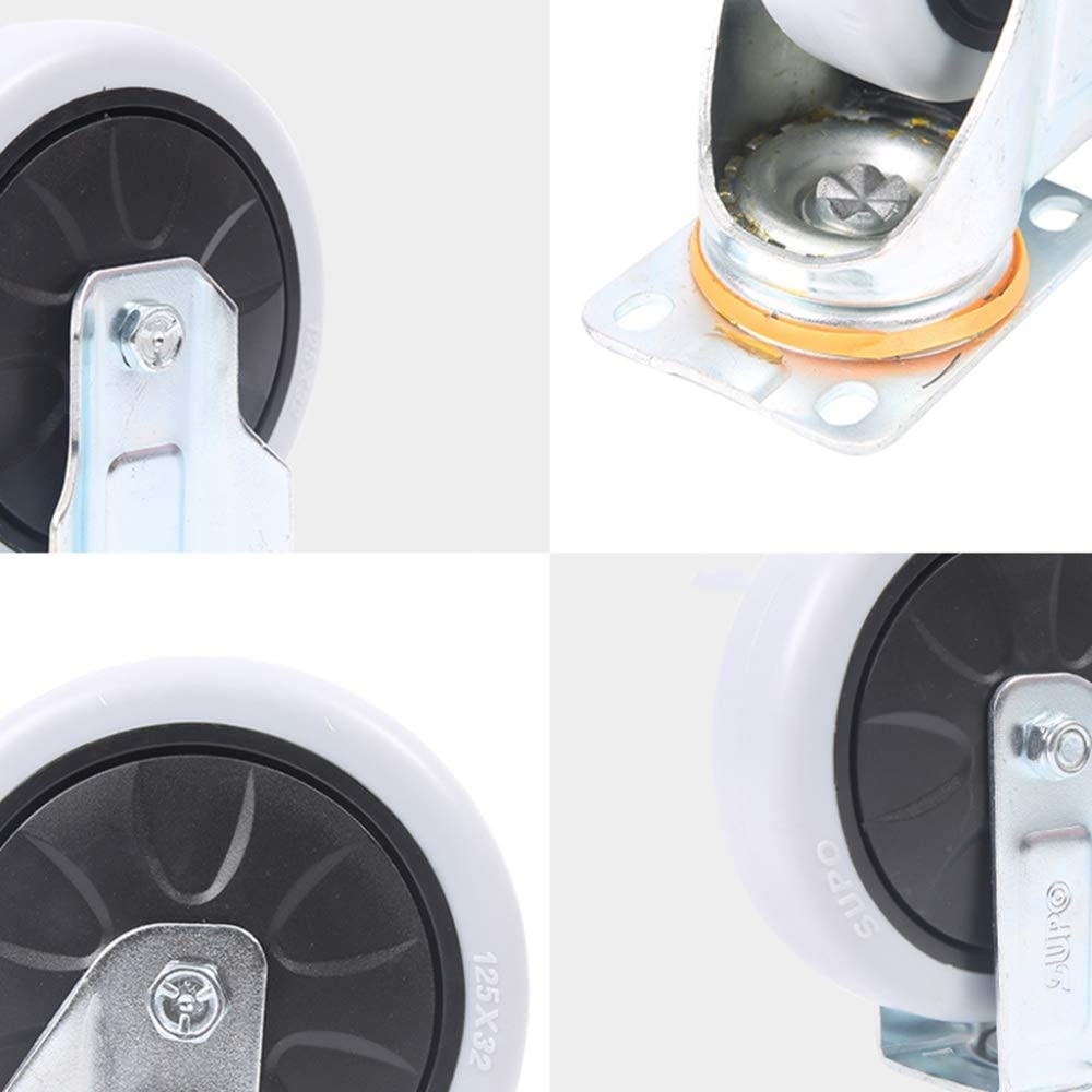 2in Casters,4 Pieces Medium Polypropylene Household Office Universal Wheel,Trolley Flatbed Truck Industry Directional Wheel,Replace Accessories Brake Wheel 360 Degree Rotation//F