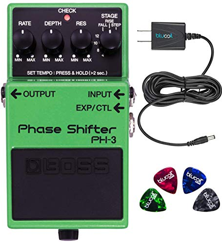 (BOSS PH-3 Phase Shifter Shifting Pedal with Tap Tempo Bundle with Blucoil Power Supply Slim AC/DC Adapter for 9 Volt DC 670mA and 4 Guitar Picks)