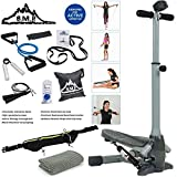 Sunny Health and Fitness Twist-In Stepper Step Machine Bundle with 7-Piece Fitness Kit, Sports Zippered Waist Bag and Workout Cooling Towel