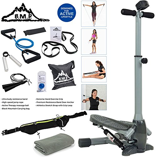 Sunny Health and Fitness Twist-In Stepper Step Machine Bundle with 7-Piece Fitness Kit, Sports Zippered Waist Bag and Workout Cooling Towel by Sunny