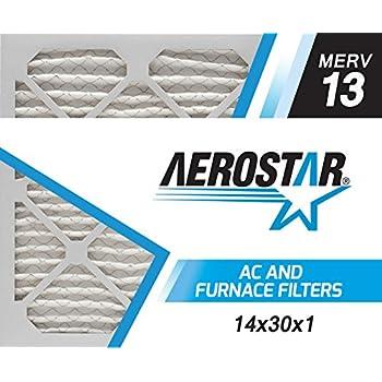 Aerostar 14x30x1 MERV 13, Pleated Air Filter, 14x30x1, Box of 6, Made in The USA