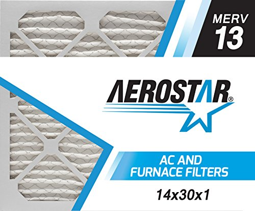 Aerostar 14x30x1 MERV 13, Pleated Air Filter, 14x30x1, Box of 6, Made in The USA