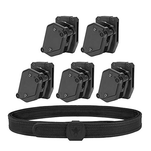 KRYDEX IPSC USPSA IDPA 3-Gun Belt and Pouches,Inner & Outer Belt Competition High Speed 5X Multi-Angle Speed Pistol Magazine Pouch Mag Holster (L(39