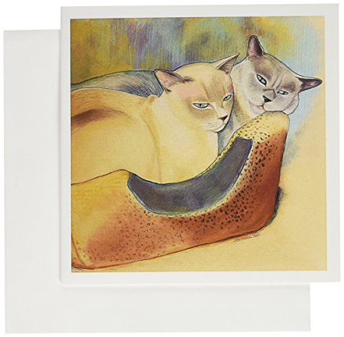 3dRose Cats two cats Tonkinese cats cuddling pastel painting pet portrait cats cat bed - Greeting Cards, 6 x 6 inches, set of 12 (gc_23299_2)