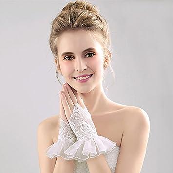 ZLYAYA guantes ,mitónHembra Coche de gama alta de encaje óseo novia boda vestido de novia