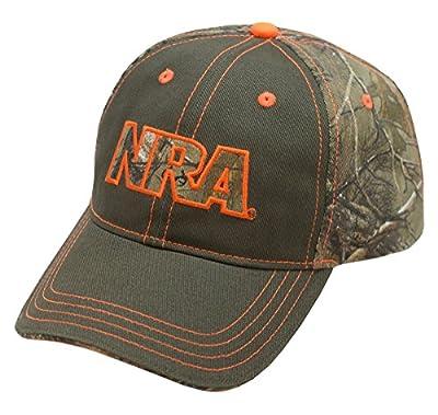 NRA Brown Twill Camo Cap With Blaze Orange Accents