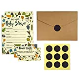 Baby Shower Invitation Cards with Diaper Raffle Tickets for Boy and Girl - Woodland Forest Animals - Set of 25 Party Invites - by Nalalife