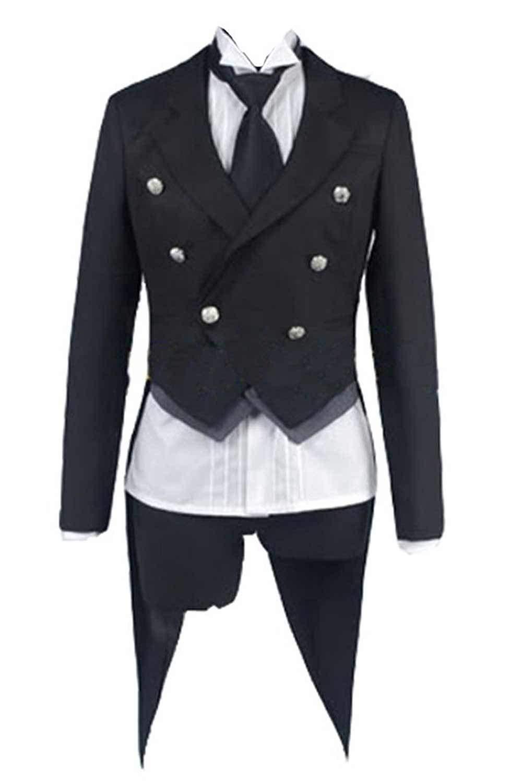UU-Style Black Butler Kuroshitsuji Sebastian Michaelis Cosplay Tuxedo Jacket Pants Outfit Uniform by UU-Style