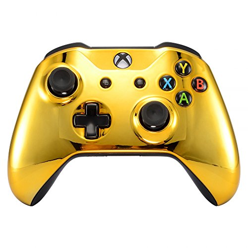eXtremeRate Chrome Gold Front Housing Shell Faceplate for Microsoft Xbox One S & Xbox One X Controller (Xbox Faceplate)