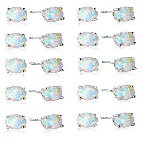 GEMSME Pack of 10 18K White Gold Plated Round White Opal Stud Earrings For Women