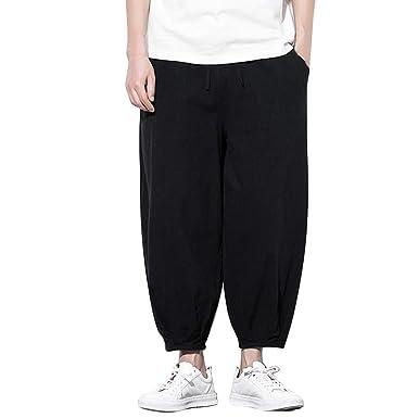 5cf2e37d79 wodceeke Mens Loose Cotton Linen Baggy Harem Pants Casual Summer Beach Wid  Leg Trousers with Pockets