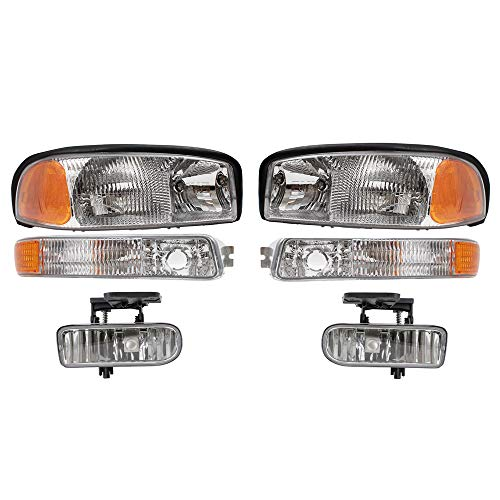 (BROCK 6 Piece Set Headlights, Fog Lights and Signal Marker Lights Replacement for 1999-2002 GMC Sierra New Body Style Pickup Truck 10385054 10385055)