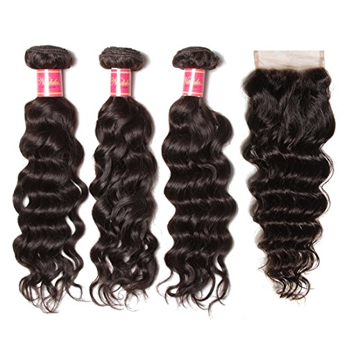 Nadula Brazilian Virgin Hair With Closure Natural Wave Hair Bundles With 4×4 Free Part Lace Closure 8A Brazilian Natural Wave Weave Cheap Remy Human Hair Entension Natural Color (18 20 22+16 Closure)