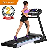 Domtie Black Folding Electric Fitness Treadmill Entry-level Home Running Machine with 5'' Blue Back-light LCD