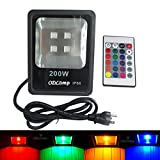 Odlamp 200W LED Floodlight Waterproof IP66 Outdoor Indoor LED Securtity lights With Plug (RGB)