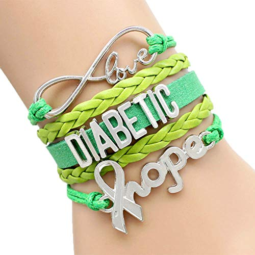 Infinity Hope Diabetic Bracelet Awareness Hope Charm Leather Men Bracelets & Bangles Gift for Men Women Jewelry