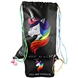 replica fast draw - UNICORN Beach Drawstring Backpack Toiletry Travel Bag + Unicorn Makeup Cosmetic Bag for Girls | 2 COLORS | 2 PC Set Gift (2 Pack: 1 Black Unicorn Backpack + 1 Unicorn Makeup Bag)