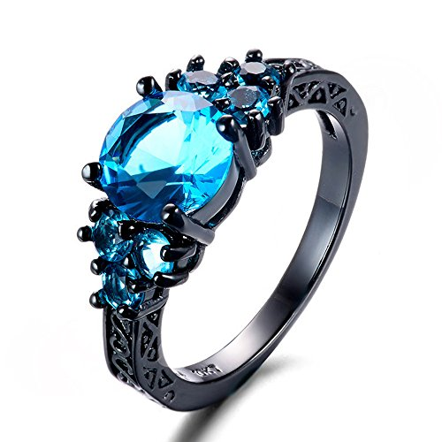 Homemade Harley Quinn Costume (T&T ring Round Lake Blue Zircon Black Gold Filled Ring Vintage Jewelry for Women Wedding Engagement Rings (6))