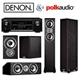 Denon AVR-S510BT Bundle 5.2 Channel Full 4K Ultra HD A/V Receiver with Bluetooth NOW WITH (2) Polk Audio TSi300 Floorstanding Speakers (2) TSi100 Bookshelf's (1) CS10 Center Channel