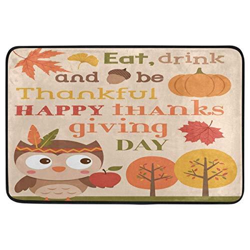 Thanksgiving Decorative Doormat Non Slip Washable Cute Owl