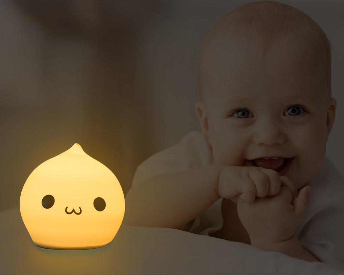 Silicone Children Night Light Cute Droper Sensitive Tap Control Light Multi-Color Soft Baby Kids LED Lamp Silicone USB Rechargeable Breathing Dual Light Modes Nursery Night Lamp by YiaMia (Image #3)