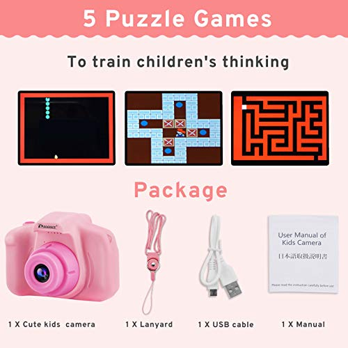 PROGRACE Mini Kids Camera Children Digital Cameras for Boys Girls Birthday Toy Gifts Presents Gadgets 4-12 Year Old 1080P Video Camera Toddler Recorder 8G Memory Card Included-Pink