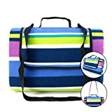 SEMKO Outdoor Picnic Blanket Mat, Fleece Outdoor Blanket Waterproof Sand-Proof Lightweight Cozy for Camping Beach Extra Large with Shoulder Strap/Hand Use (blue-59'' ✖ 79'')