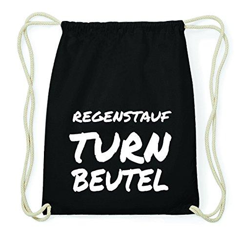 JOllify REGENSTAUF Hipster Turnbeutel Tasche Rucksack aus Baumwolle - Farbe: schwarz Design: Turnbeutel soiCC0H