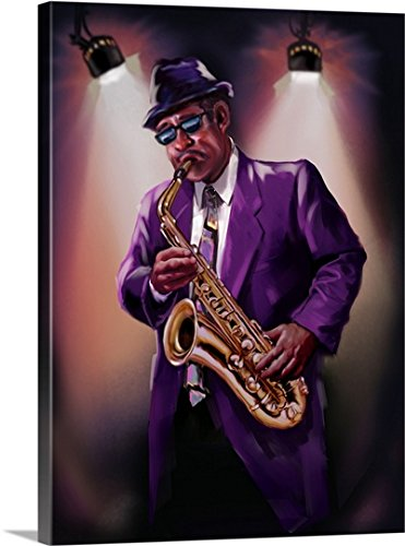 Gallery-Wrapped Canvas entitled Illustration of jazz musician playing saxophone by Great BIG Canvas - Gallery Eyewear