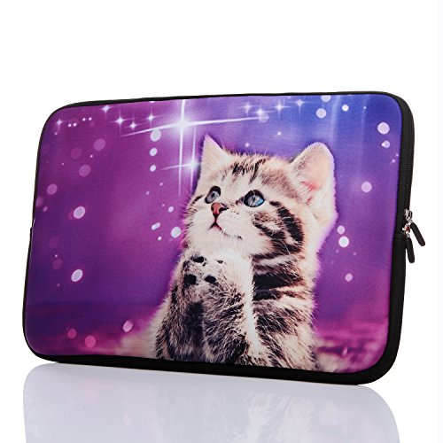 13.3-Inch to 14-Inch Laptop Neoprene Sleeve Case with Hidden Handle for 12.9 13 13.3 14 14.1 Inch Men Women Ultrabook/Chromebook/Tablet/Netbook (13.3-14 Inch, Cute Cat)
