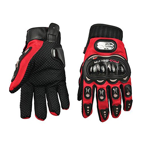 Mingus 3D Breathable Mesh Fabric Gloves Full Finger Gloves for Motorcycle Mountain Motorbike Motocross Off-Road Cycling Bike - Red L