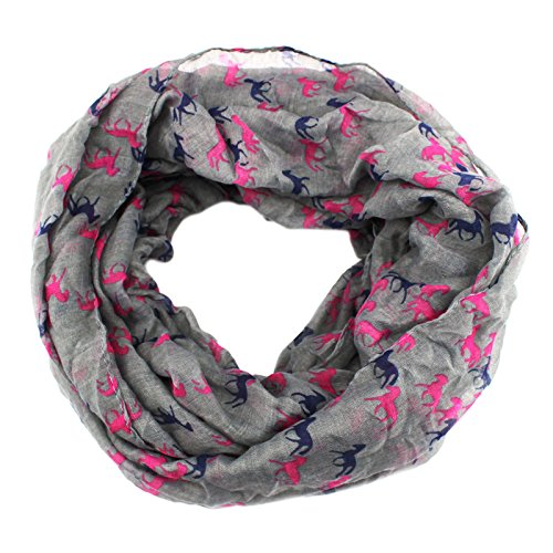 PendantScarf Women's Fashion Animal Horse Print Loop Ring Infinity Scarf (Gray)
